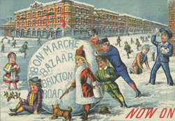 Advertisement for a Grand Christmas Bazaar at the Bon Marché store reverse